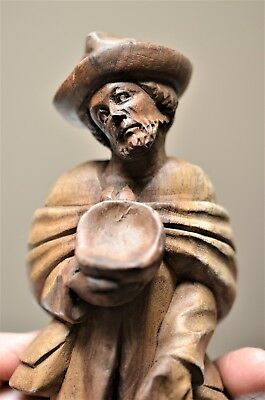 Vintage Artist Wooden Wood Hand Carved Figurine / Statue Old Man Signed 'Guito'