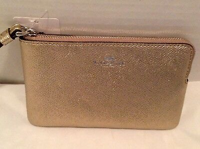 Nwt Authentic Coach Wristlet Silver Platinum (Gold) F21070