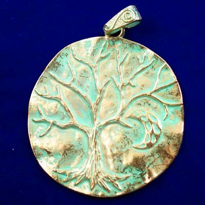 Carved Brass Bronze Tree Round Pendant Bead 65x2mm L89669