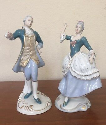 Vintage Royal Dux Czechoslovakia Dancing Man & Woman Porcelain Figurine Pair