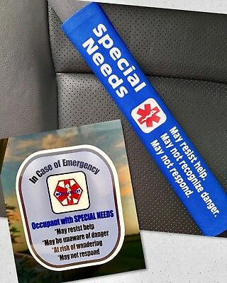 Special Needs Seat Belt Cover and Window Decal Set Royal Blue