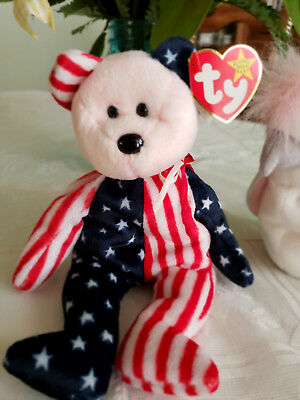 """TY BEANIE BABY """"SPANGLE"""" Bear PINK FACE DOB 6/14/1999 - original price tags!"""
