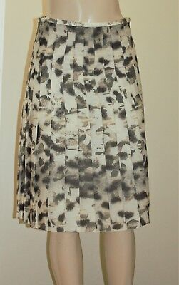 WORTH Pale Sable Shadow Skins Stitch Down Pleated Wool Skirt size 2, 6 $548 NWT