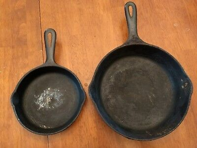"""VINTAGE WAGNER WARE SIDNEY 1056 DOUBLE SPOUT 9"""" CAST IRON SKILLET w/2nd skillet"""