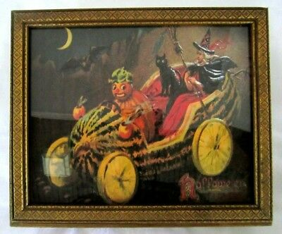 Vintage Halloween Witch Cat & Car Candy Container Box Atlas Candy New York Tuck