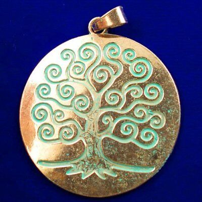 Carved Brass Bronze Tree Round Pendant Bead 66x2mm L89677