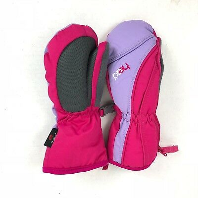 Head Pink and Gray Warm Mittens Ski Snow Gloves Kids Youth Size Extra Small