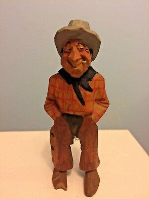 Vintage funny cowboy or bandit caricature wood hand carved and painted figurine