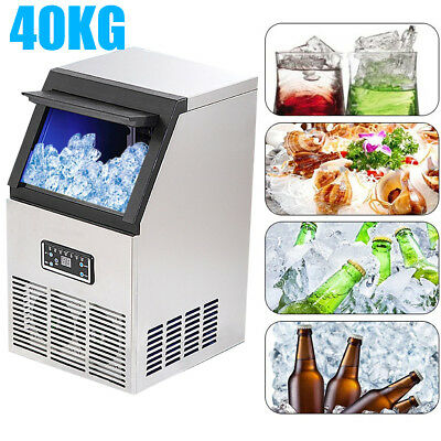 40KG 88Lbs Auto Commercial Ice Cube Maker Machine Stainless Steel Bar Drink 200W