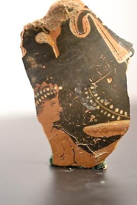 Ancient Greek 'Attic' redware vase fragment with figure of a woman