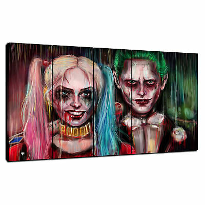 """Harley Quinn and Joker HD Canvas Print 24/""""x42/"""" Home Decor  Wall Art Pictures"""