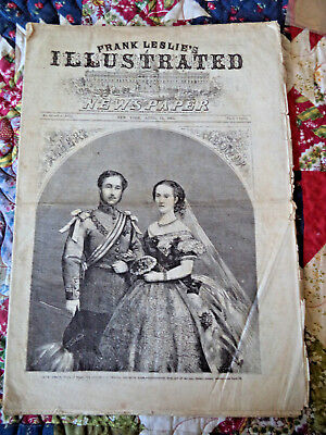 4/11/1863 FRANK LESLIE'S CIVIL WAR NEWSPAPER~marriage prince Edward to Alexandra