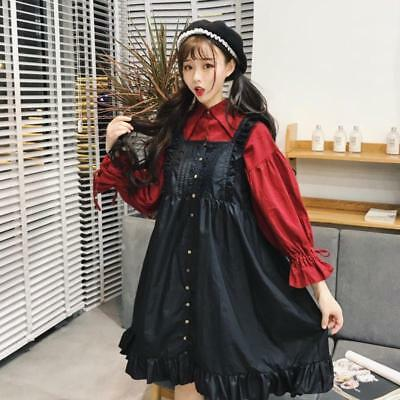 Lolita Lace-up Bishop sleeve Blouse+ Flouncing Overalls Dresses Gothic Girl