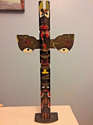 RARE Tall Vintage or Antique NW Coast Wood carved and painted Totem Pole