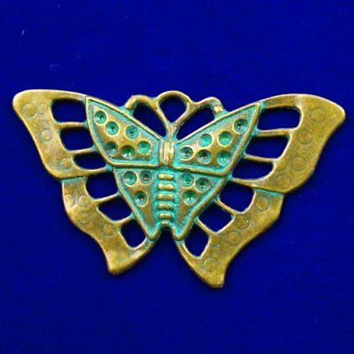 Carved Brass Bronze Butterfly Pendant Bead 51x34x2mm L89938