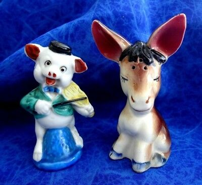 Rare Vintage Salt And Pepper Shakers One Donkey And One Pig Playing A Fiddle