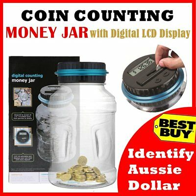 LCD Digital Electronic Counting Coin Bank Money Saving Box Jar Counter Bank BI