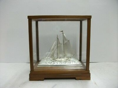The sailboat of Pure silver of Japan. 2masts. #34g/ 1.20oz. Japanese antique