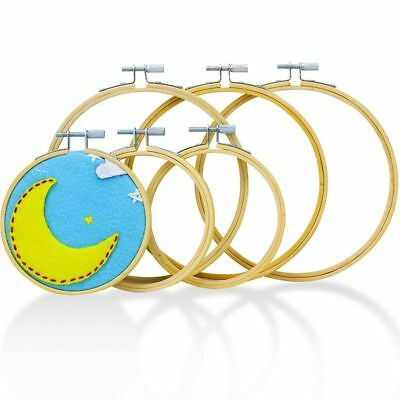 Embroidery Hoops for Cross Stitch (6 Pack) Premium Round Bamboo Hoop Kit Bulk S9