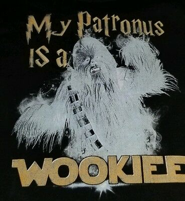 a89054e74 My Patronus is A Wookie T Shirt Black Large Harry Potter Star Wars Mashup  Rare