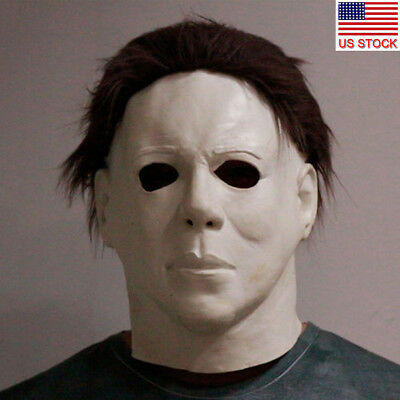 Michael Myers Halloween Costume Mask Horror Full Head Adult Deluxe Scary Party