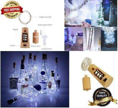 Wine Bottle Lights with Cork, Battery Operated LED Cork Silver Copper Wire 10Pcs
