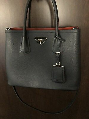 82c5f5c462 ... get prada saffiano cuir black red small double bag 3356b cdb28
