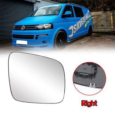 FOR VW Transporter T5 Heated WIDE ANGLE WING MIRROR GLASS Clip On O/S 2010-2015