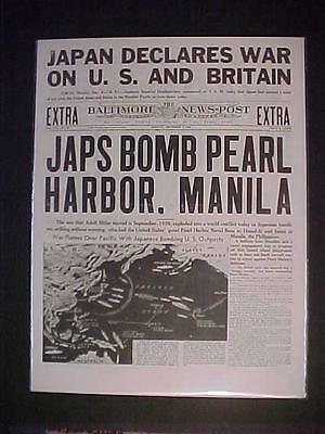 Vintage Newspaper Headline ~World War 2 Japanese Planes Bomb Pearl Harbor Wwii~