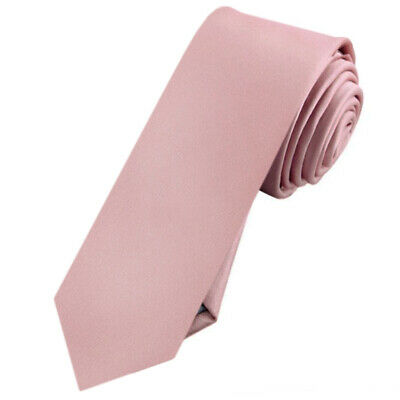 Mens Blush Dusky Pink Plain Skinny Tie Dusty Pink Rose Men's Slim Thin
