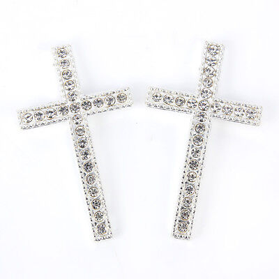 10X Ancient Silver Rhinestone Cross Shape Charm Pendant DIY Jewelry Craft Making