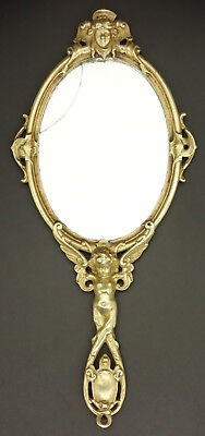 Large Hand Mirror, Love Decor, Louis Xv Style, 19Th - Bronze - French Antique