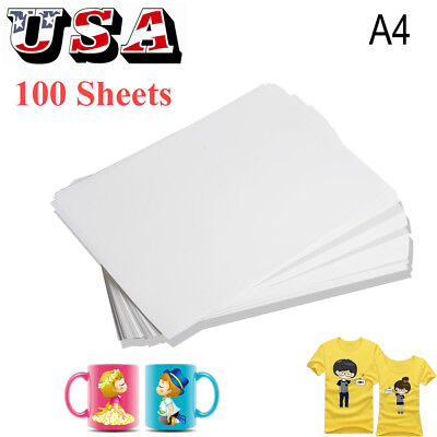 100pcs A4 Dye Sublimation Heat Transfer Paper for Polyester Cotton DIY T- Shirt