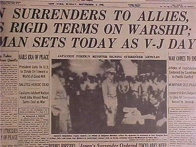 Vintage Newspaper Headline~Japanese Army Japan Surrender Vj Day World War 2 Wwii