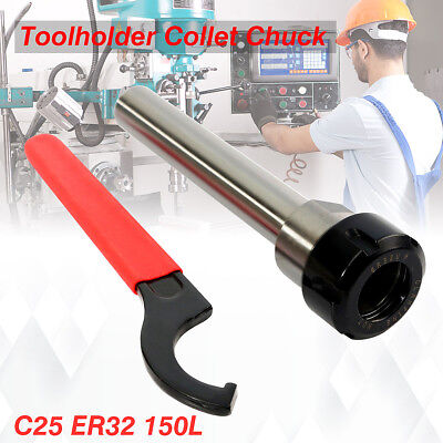 C25 ER32 150L Collet Chuck Straight Shank + Extension Rod Wrench Set CNC Cutter