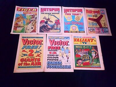 Boys Action/Adventure Comic's x 7 Small Joblot Bundle Victor/Tiger/Hotspur