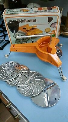 Vintage Moulinex 445 Mouli-Julienne 5 Disc Grater Shredder Slicer Kitchen Tool