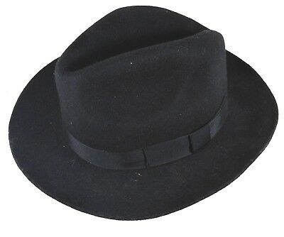 Vintage hand made wool Christys london black Trilby Fedora Hat size small 54cm
