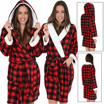 Ladies Red Checked Short Hooded or Knee Length Fleece Robe with Sherpa Lining
