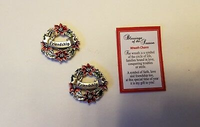 Set of 2 FRIENDSHIP Christmas Blessings of the Season Pocket Token Charms cards