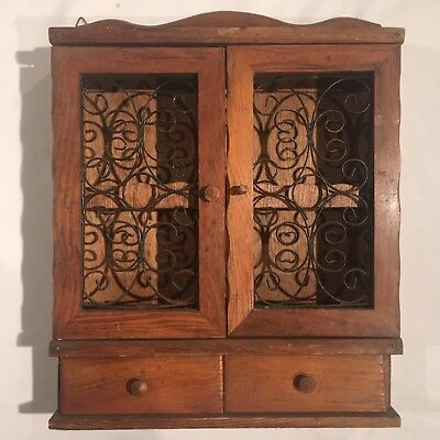 Vintage Retro Display Cabinet Timber and Wrought Iron
