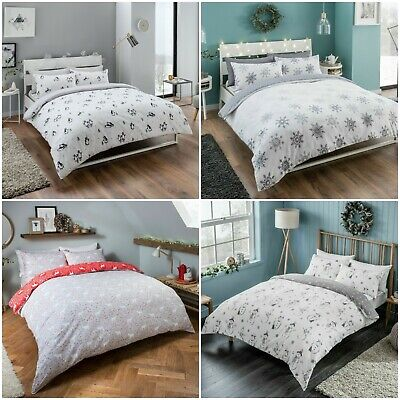 100% Brushed Cotton Flannelette Tartan Check Duvet Cover Set with Pillow Cases