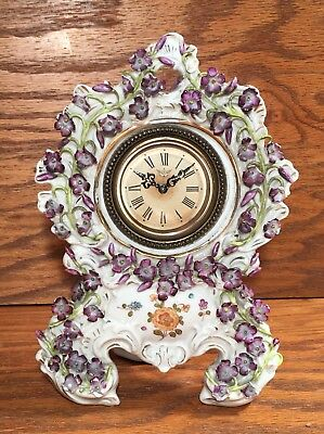 Small Porecelain German American Or French Table Mantle Shelf Clock
