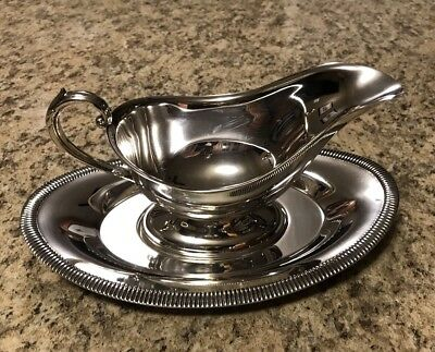 W. A Rogers Silver Plated Gravy Boat With Tray