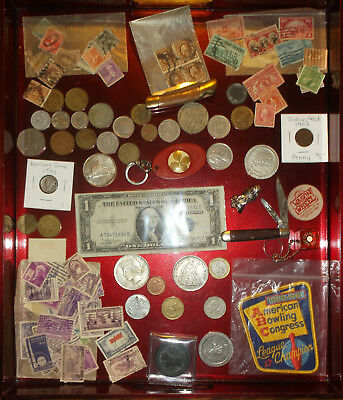 Estate Junk Drawer #3 Silver Ceritificate, Coins, Knives, Tokens, Bulldog Stamps
