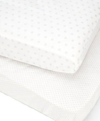 NEW Mamas and Papas M&P 2 x Cotbed Fitted Sheets Cotton Neutral PATCHWORK