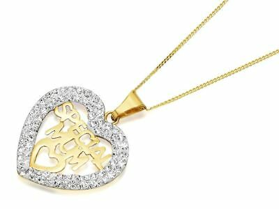 F.Hinds 9ct Gold Crystal Special Mum Heart Necklace Chain Women Jewelry Gift