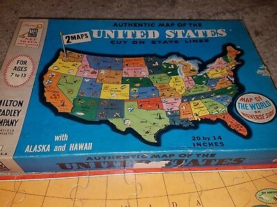 Authentic Map of the United States cut on state lines 2 maps Milton Bradley 1961