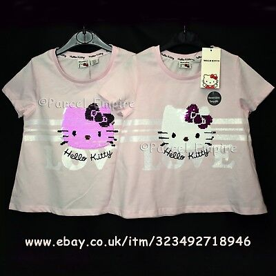 aeb8ce7dd5a49 Official HELLO KITTY BRUSH SEQUIN T-SHIRT Reversible Girls Top Tee Gift UK  Cat