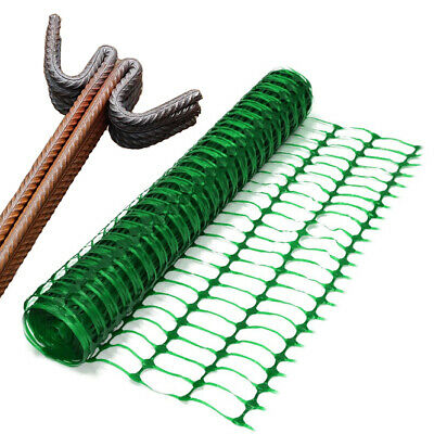 1 x 50m plastic mesh barrier safety sports fence & 10 metal steel fencing pins